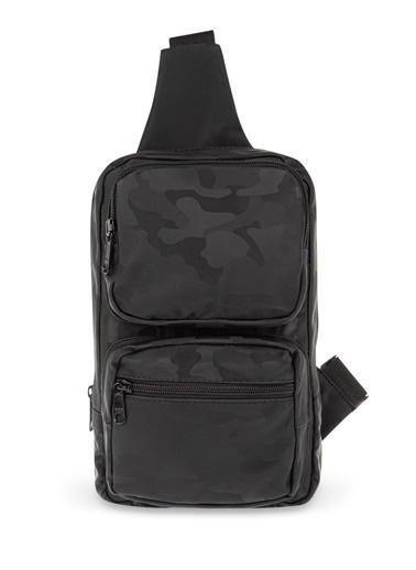 Mavi Kamuflaj Desenli  Çanta Siyah